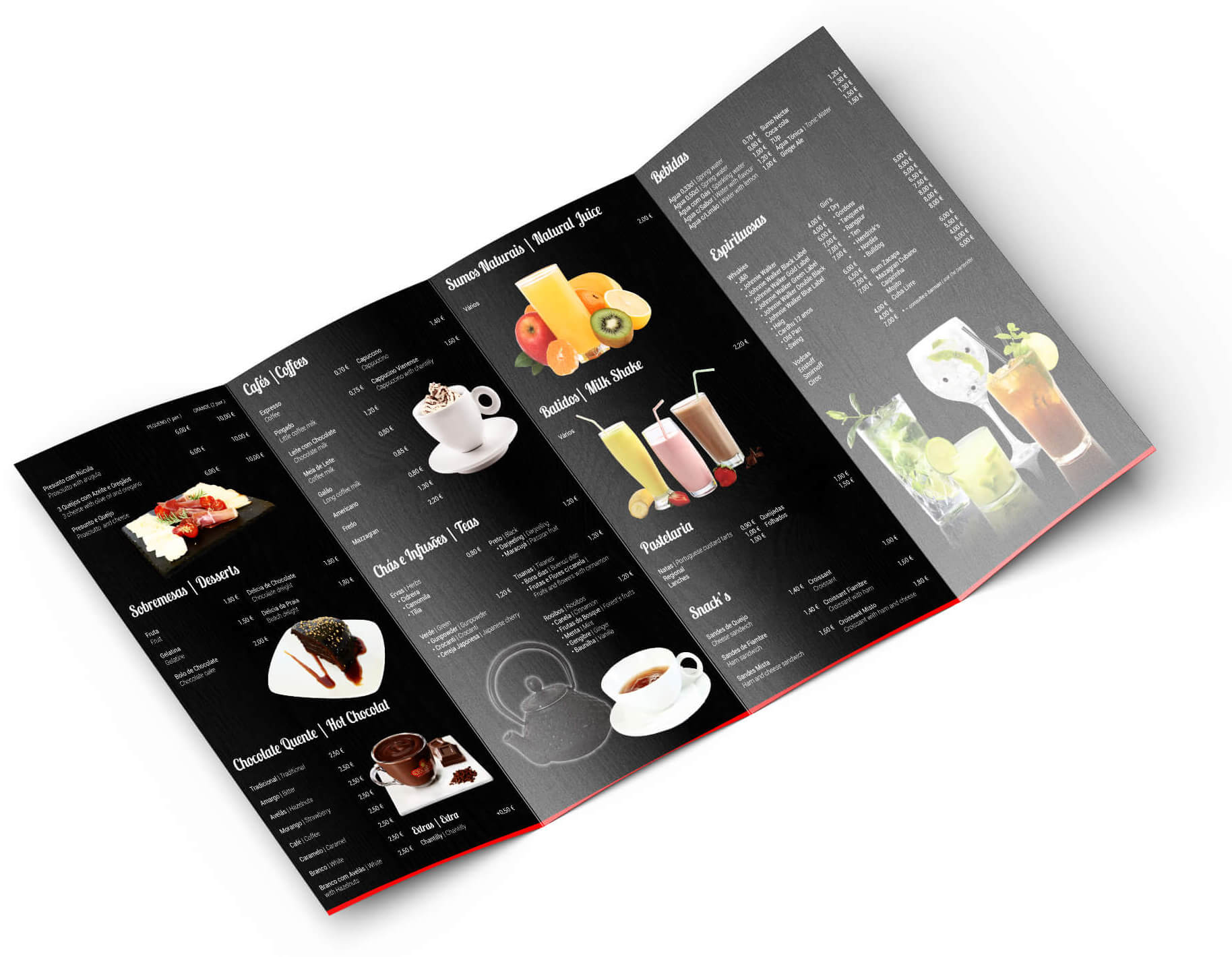 Café Sebastian Bar - Menu Mockup | Way2Start - Design & Digital Agency